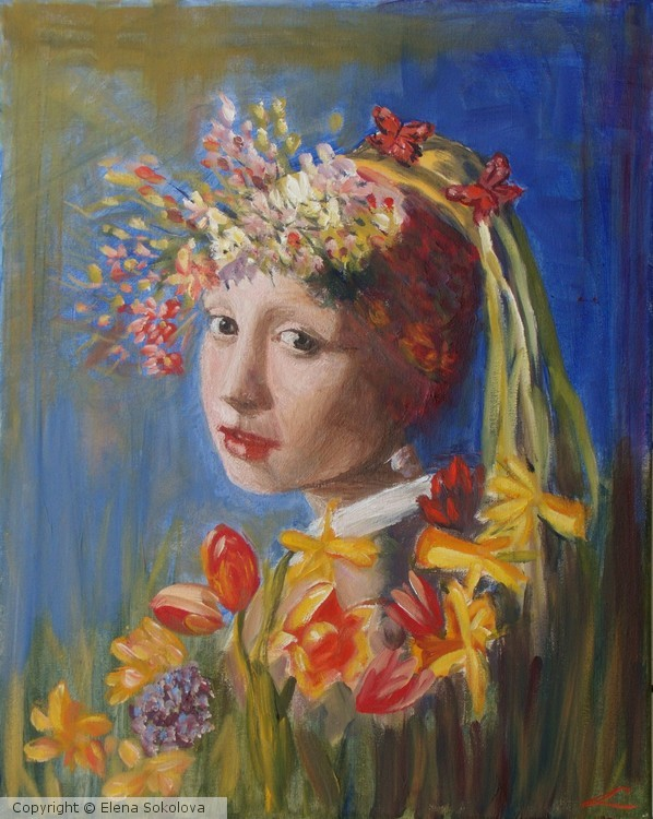 Spring girl with the perl