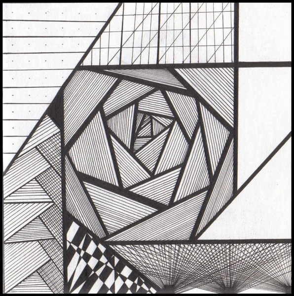 Cool Straight Line Art : Trippy lines in a delcate rosy pattern by h harper