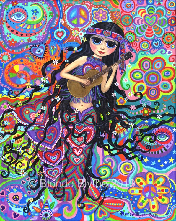 Hippie Mermaid with Guitar