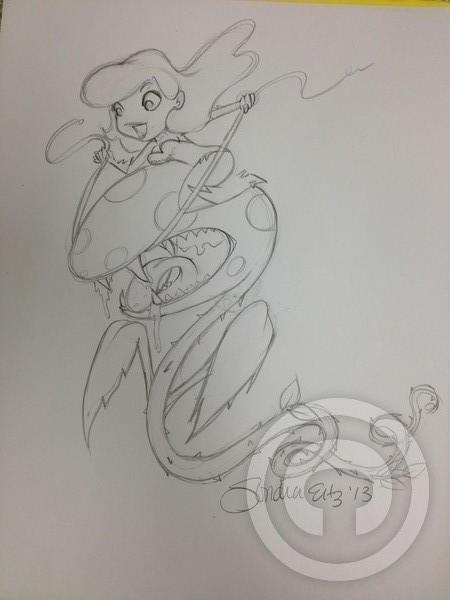 Poison Ivy riding her pet Pirahna ....
