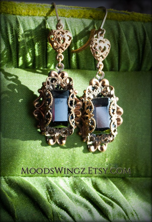 lace anthracite earrings
