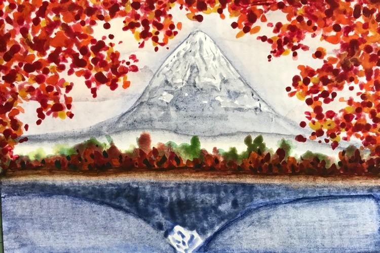 Mountain through Fall Leaves