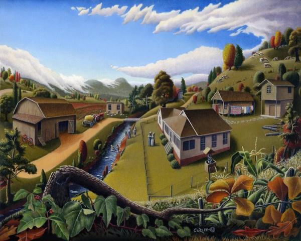 Rural Country Farm Americana Folk Art Landscape