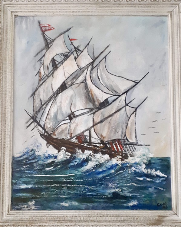 Ship on the Waves Painting