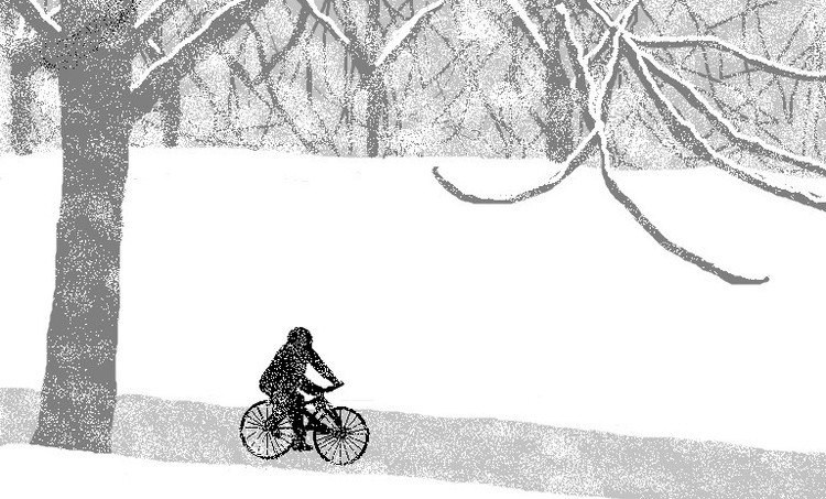 Biking In Winter Snow