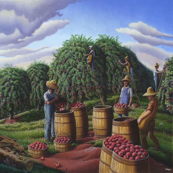 Autumn Apple Harvest Landscape - Square Format Art
