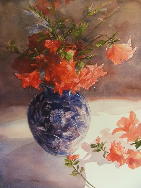 Azaleas and Blue China