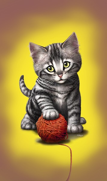 kitten with ball of yarn Custom Phone Case Art