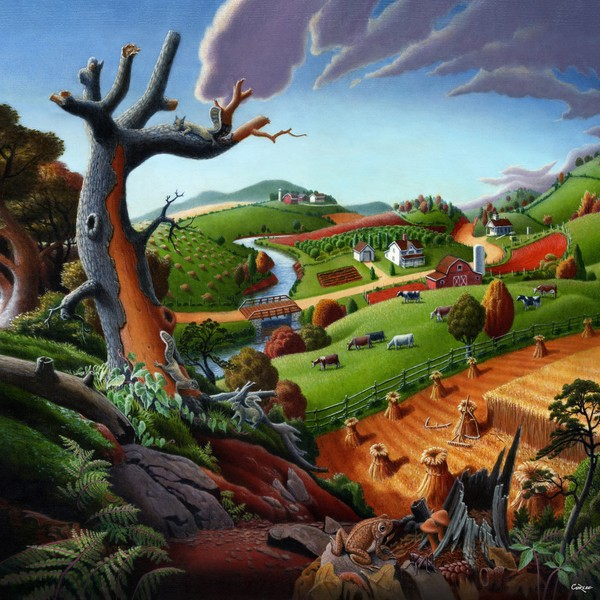 Square Art - Autumn Wheat Harvest Farm Landscape