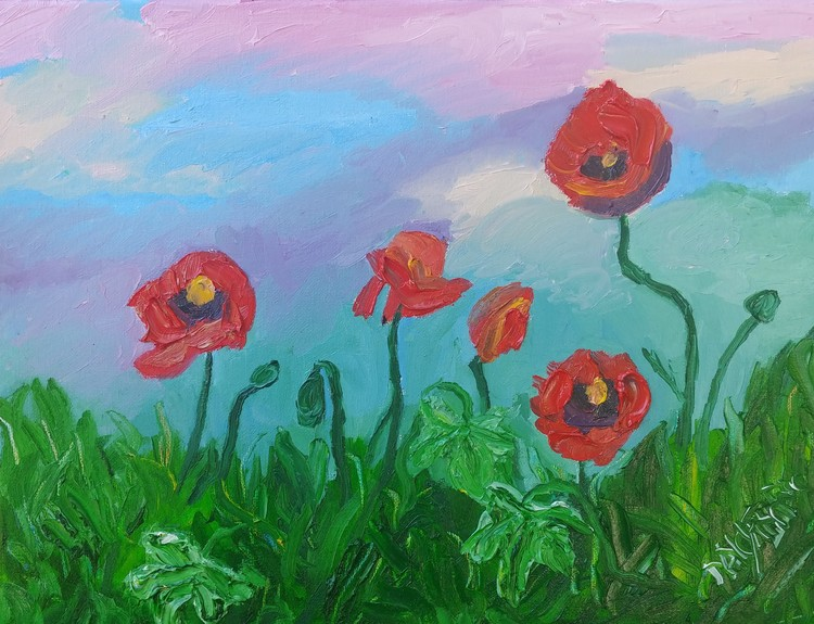 Poppies and Ivy In The Grass.