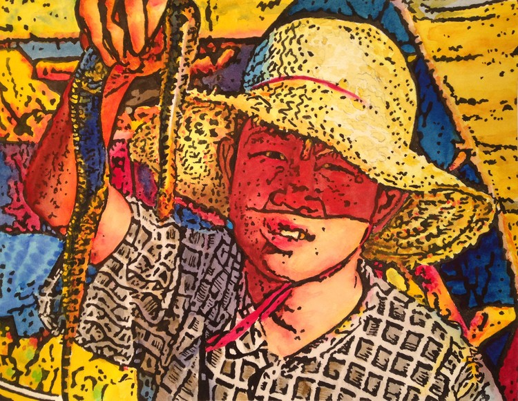 Boy with Snake in Cambodia