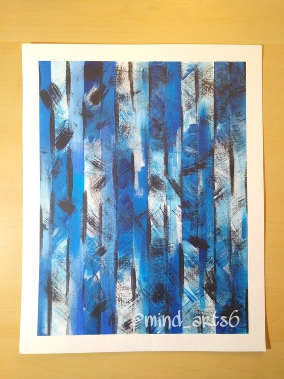Blue/Black/White brushed parallel painting,