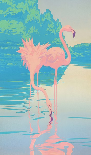 Two Flamingos Custom Phone Case Art