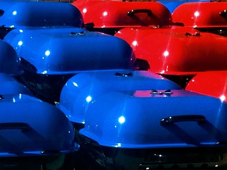 Red, blue, shiny & new