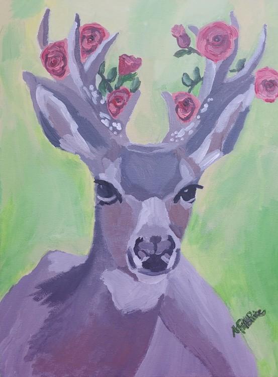 Deer And Roses.