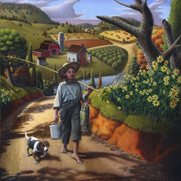Boy And Dog Country Landscape - Square Format Art