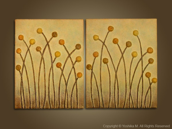 Golden Meadow -3D Relief Wall Art - Metallic Gold