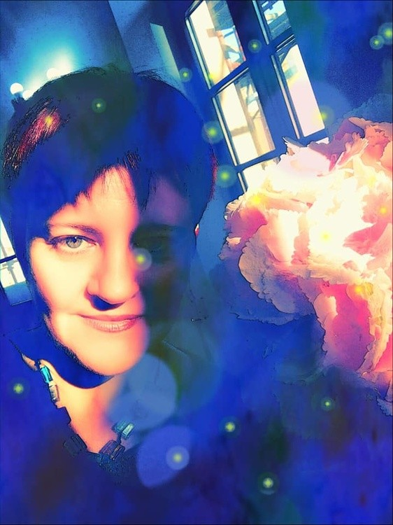 Self-portrait with hydrangea