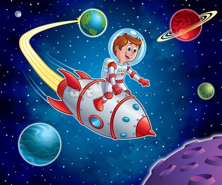 Rocket Kid Blasting Thru Space