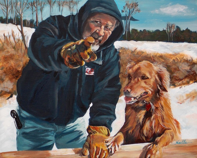 Man and his dog portrait