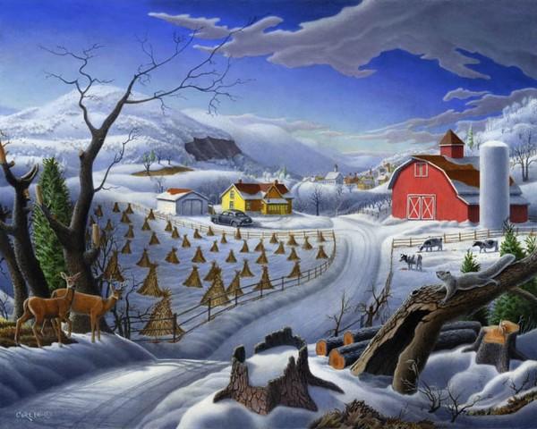 Folk Art Winter Rural Country Farm Deer Landscape