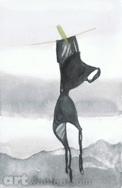 Black Bra Hanging At Window In Front Of Mountains By Moira
