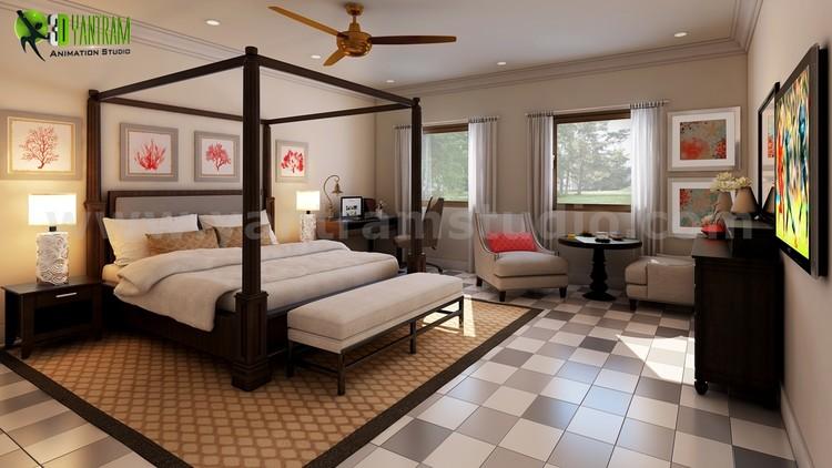 Modern Bedroom Checkered Tiles Design Ideas by Yantram 3d interior modeling Perth, Australia