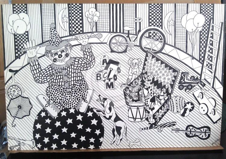 Clown Art Circus Fun Abstract Realism 1977