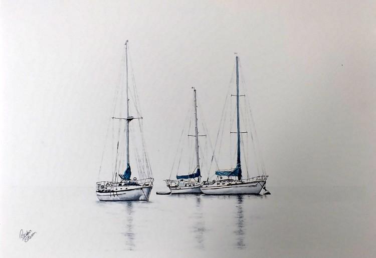 Three Sail Boats Resting