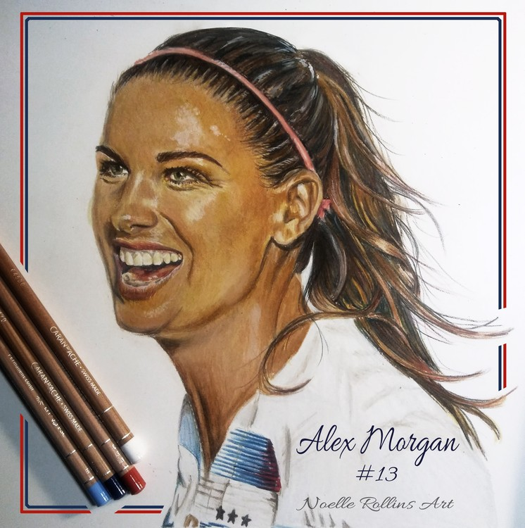 Alex Morgan colored pencil portrait