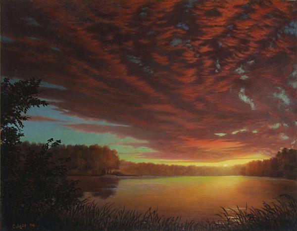 River Bend Sunset Landscape Oil Painting Art