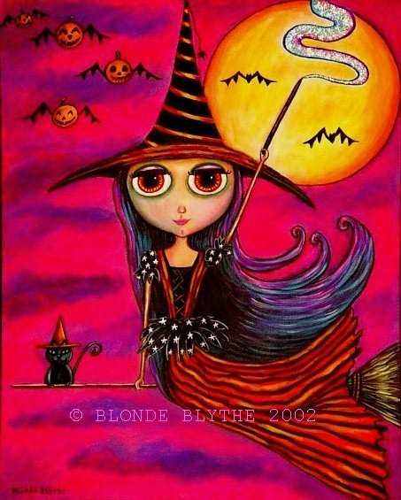 HALLOWEEN WITCH BLYTHE ON BROOMSTICK