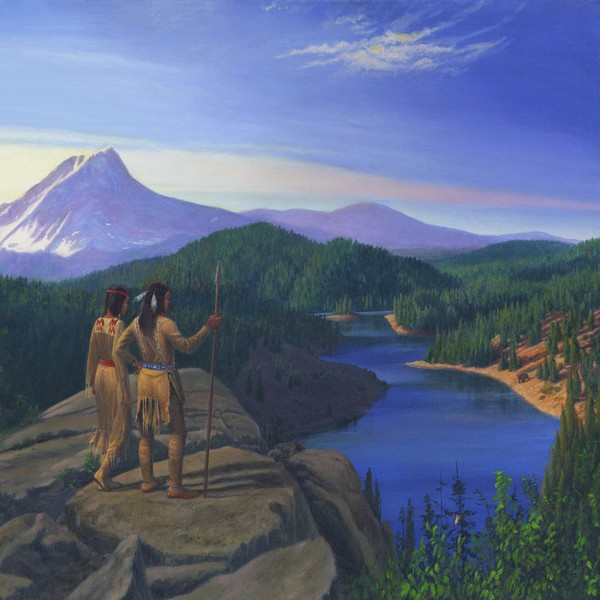 Native American Indian Maiden Warrior - Square Art