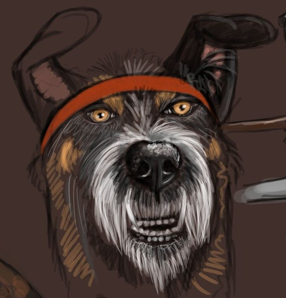 Digital dog sketch