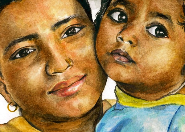 Indian Mother and Child by Wendy Lewis | ArtWanted com