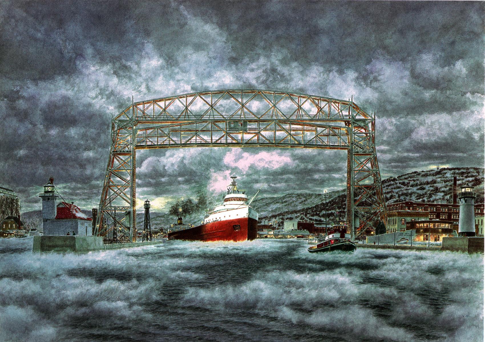 The Edmund Fitzgerald Leaving Duluth By Stanton Manolakas